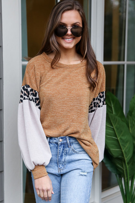 Mustard - Statement Sleeve Knit Top