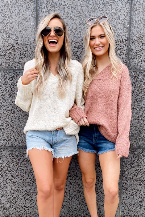 Models wearing the Oversized Knit Top