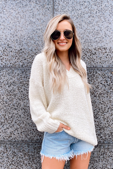 Ivory - Oversized Knit Top from Dress Up Boutique