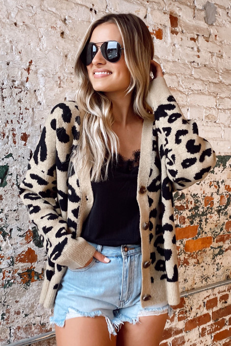 Leopard - Leopard Luxe Knit Sweater Cardigan from Dress Up