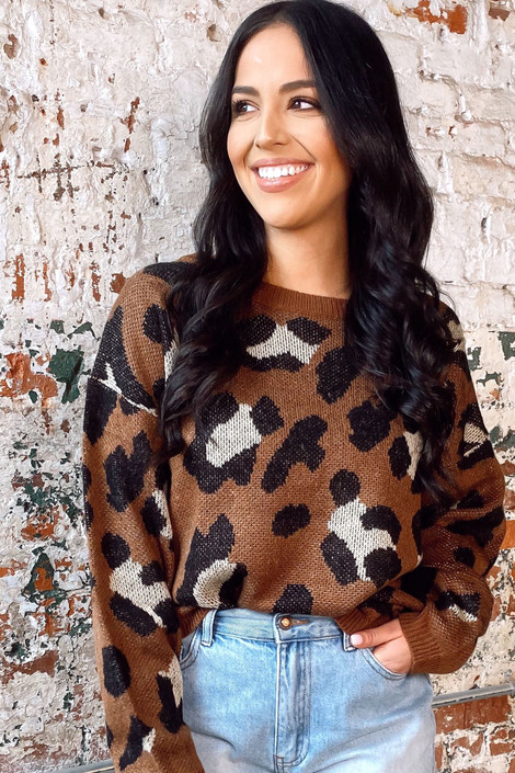 Brown - Leopard Print Knit Top from online dress boutique