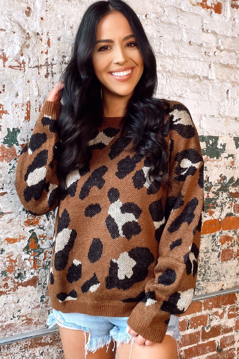 Model wearing the Brown Leopard Print Knit Top with high rise denim shorts from Dress Up Front View