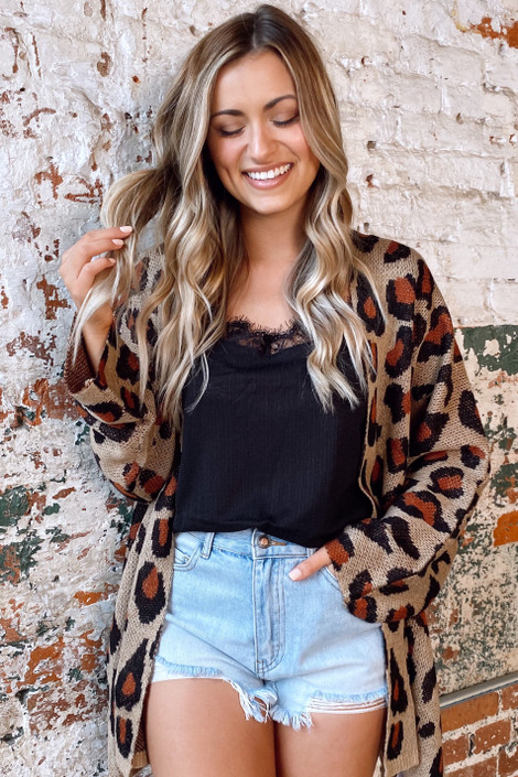 Taupe - Leopard Lightweight Knit Cardigan