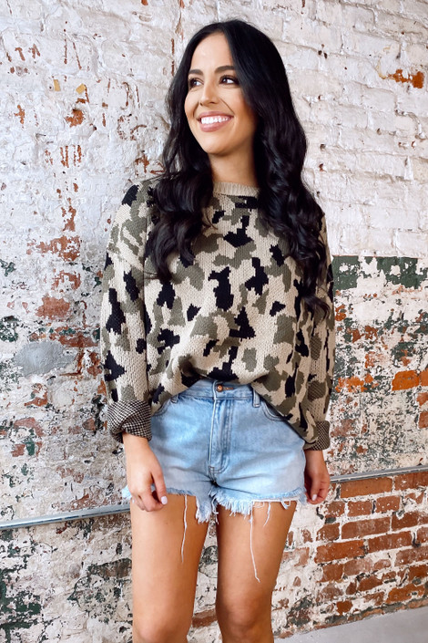 Taupe - Camo Luxe Knit Top from Dress Up