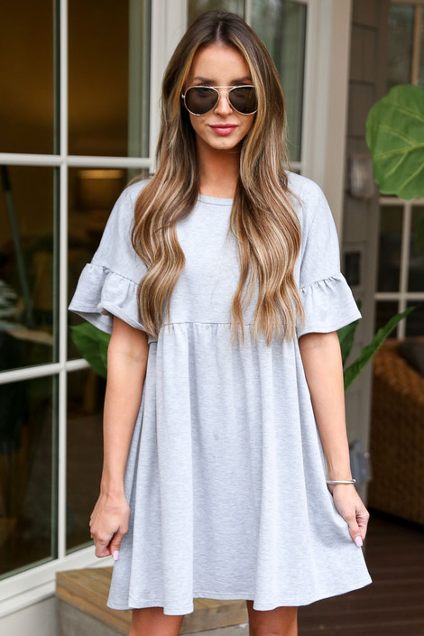 Heather Grey - French Terry Ruffle Sleeve Babydoll Dress from Dress Up