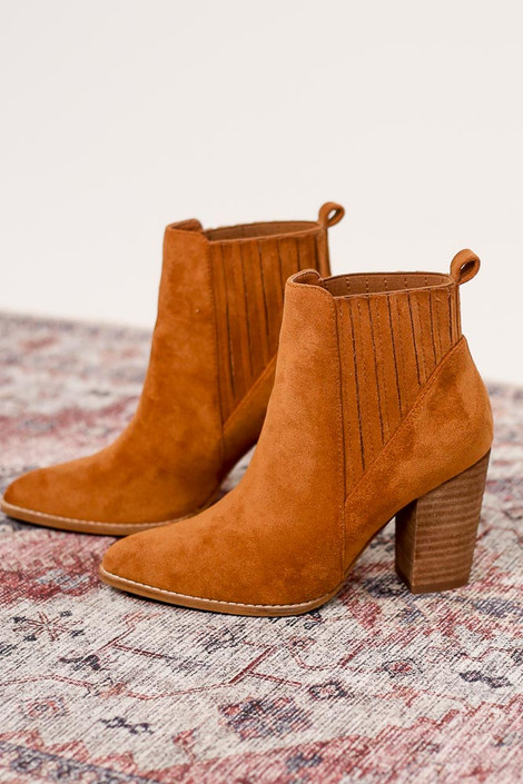 Close up of the Pointed Toe Block Heel Booties in camel from Dress Up Boutique Side View