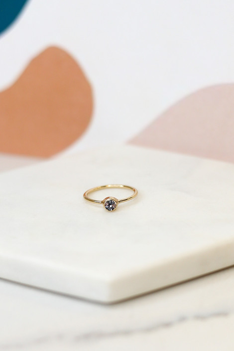Close up of a small gold ring in the Rhinestone Ring Set