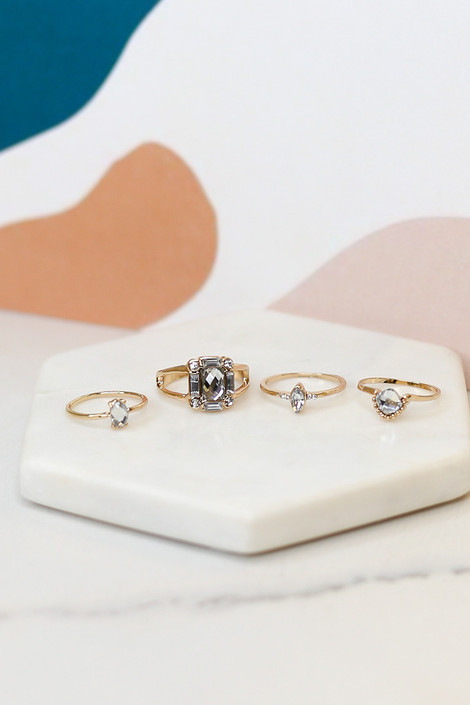 Gold - Rhinestone Ring Set