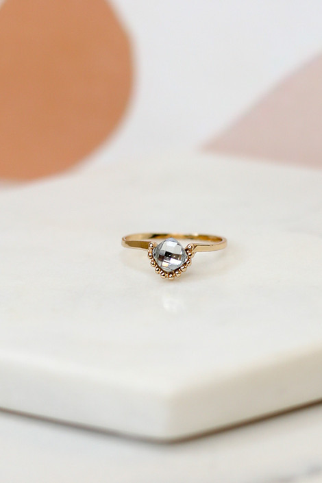 Flat Lay of a small rhinestone ring in the Rhinestone Ring Set