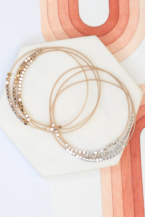 Gold - Beaded Bangle Set