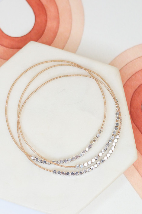Silver - Flat Lay of the Beaded Bangle Set