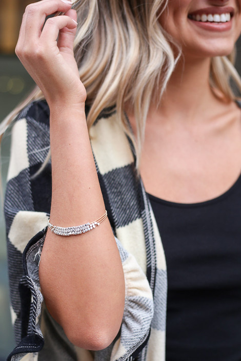Silver - Model wearing the Beaded Bangle Set in Silver
