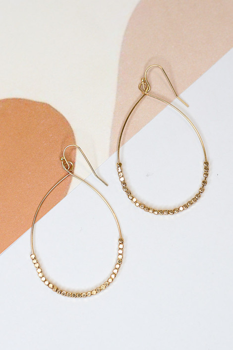 Gold - Beaded Teardrop Earrings from Dress Up