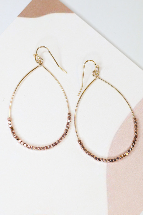 Rose Gold - Flat Lay of the Beaded Teardrop Earrings Close Up