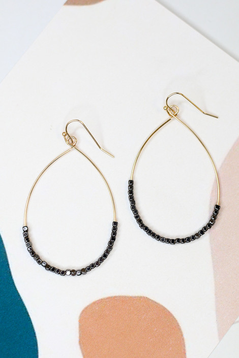 Charcoal - Flat Lay of the Beaded Teardrop Earrings from Dress Up