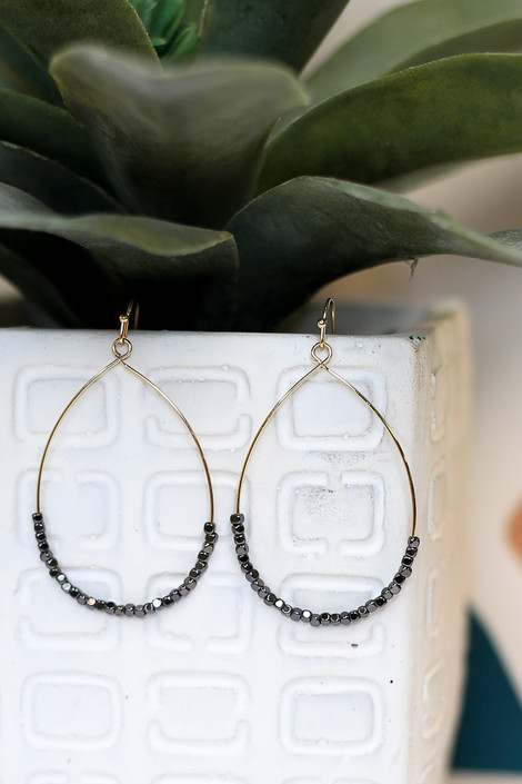 Charcoal - Close Up of the Beaded Teardrop Earrings