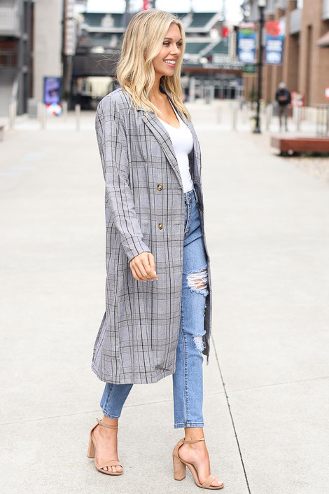 Model wearing the Grey Plaid Longline Blazer with white bodysuit Side View