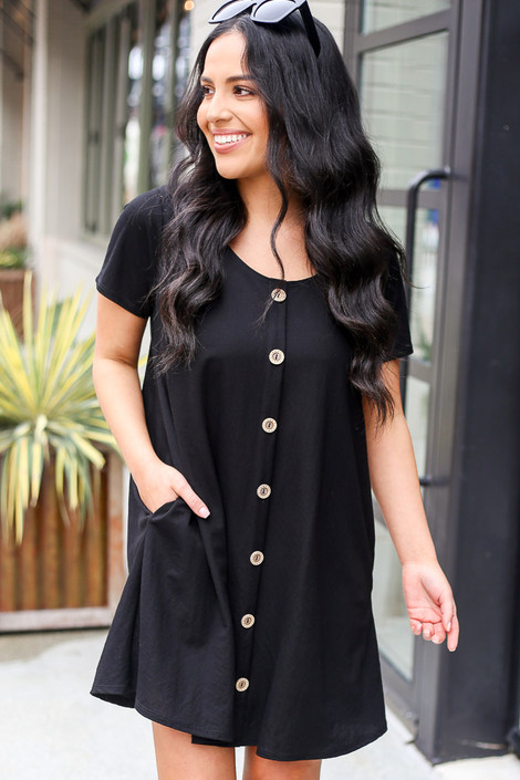 Black - Button Front Dress