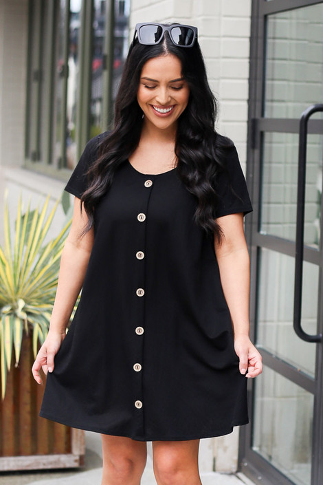 Black - Button Front Dress from Dress Up