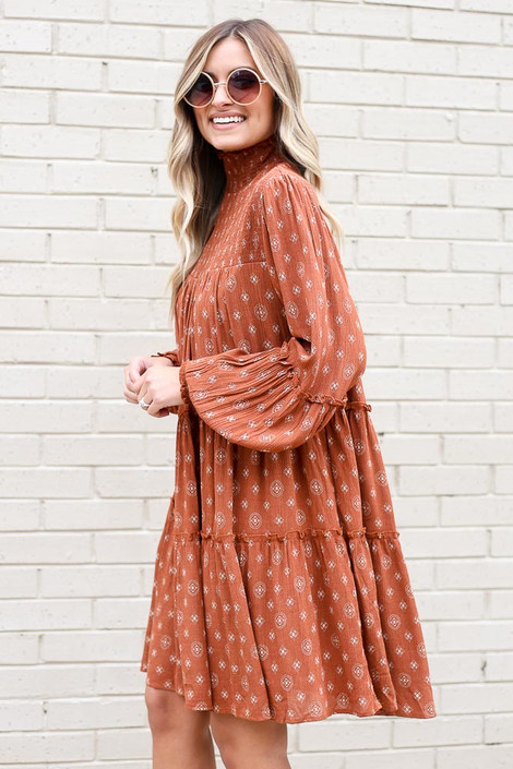 Smocked Mock Neck Tiered Dress Side View