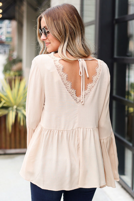 Bell Sleeve Babydoll Blouse Back View
