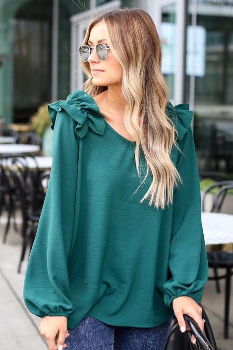 Green - Ruffle Shoulder Blouse