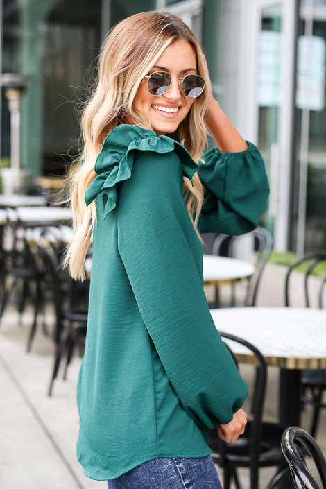 Ruffle Shoulder Blouse Side View