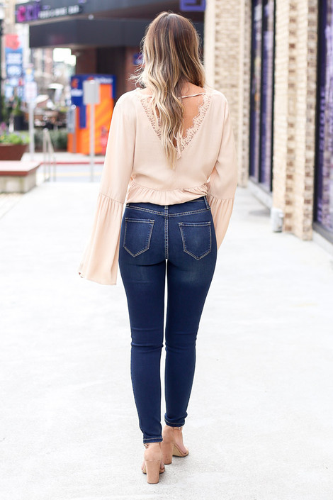 High-Rise Skinny Jeans Back View