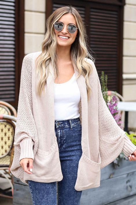 Ivory - Oversized Knit Cardigan Front View