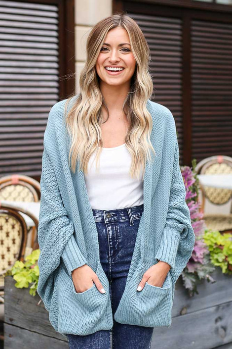 Sage - Dress Up model wearing the Oversized Knit Cardigan with a white tank