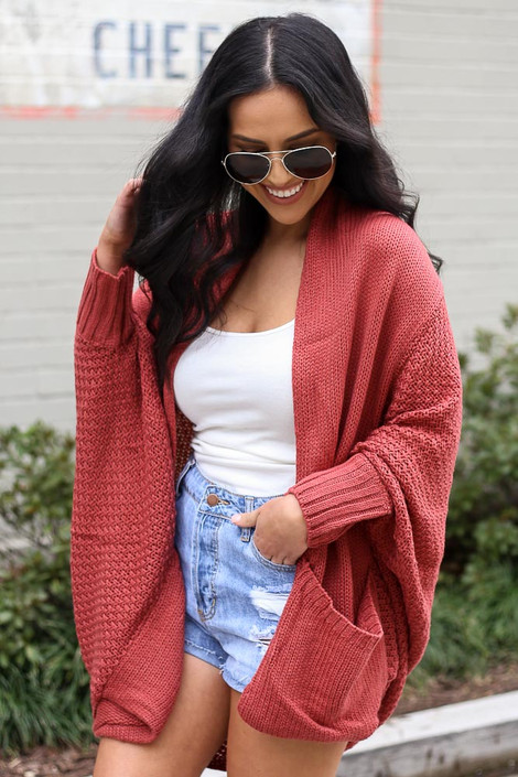 Oversized Knit Cardigan in Rust Side View