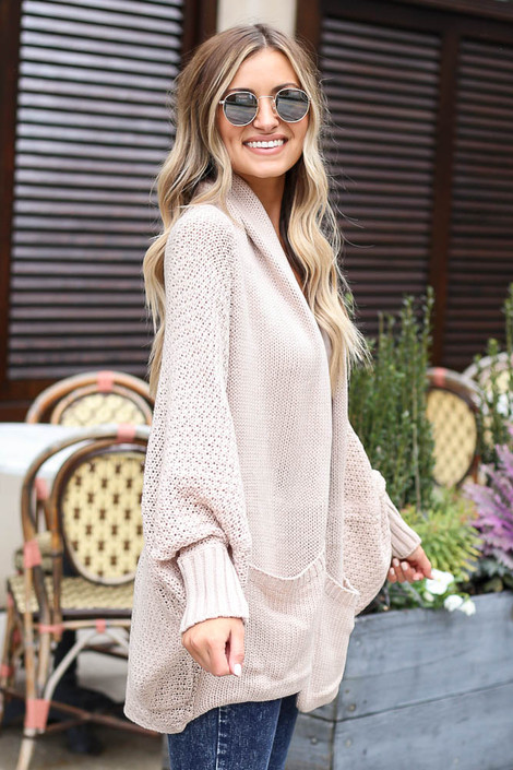Oversized Knit Cardigan in Ivory Side View