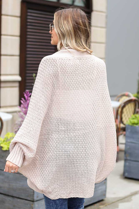 Oversized Knit Cardigan in Ivory Back View