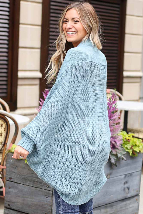 Oversized Knit Cardigan in Sage Back View