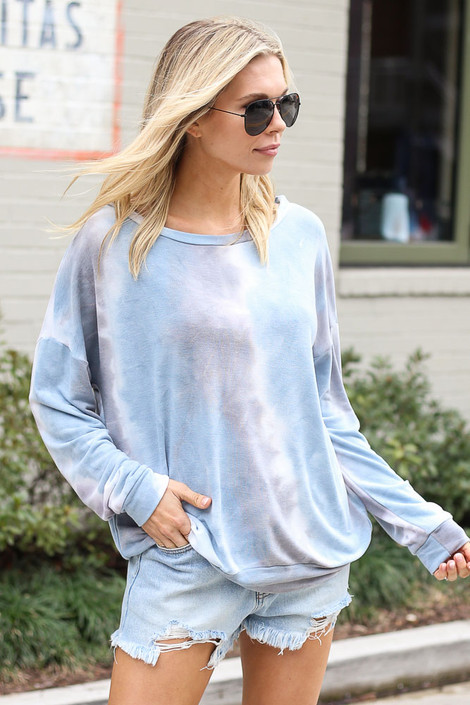 Blue - Tie-Dye Lightweight Oversized Pullover from Dress Up