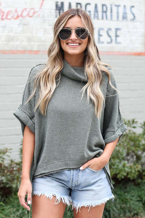 Olive - Cowl Neck Oversized Knit Top