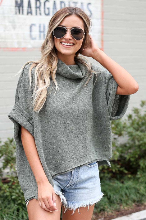 Olive - Cowl Neck Oversized Knit Top from Dress Up