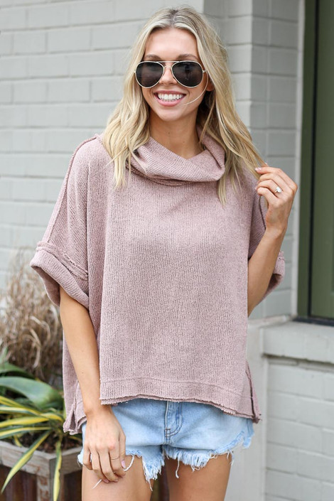 Taupe - Model wearing the Cowl Neck Oversized Knit Top