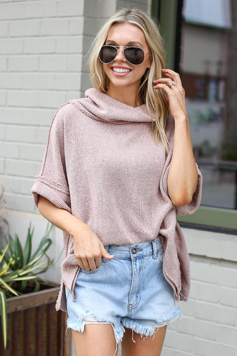 Taupe - Dress Up model wearing the Cowl Neck Oversized Knit Top