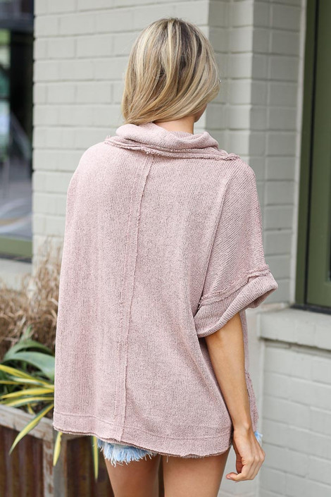 Cowl Neck Oversized Knit Top in Taupe Back View