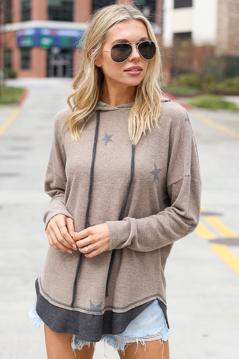 Mocha - Star Brushed Knit Oversized Hoodie