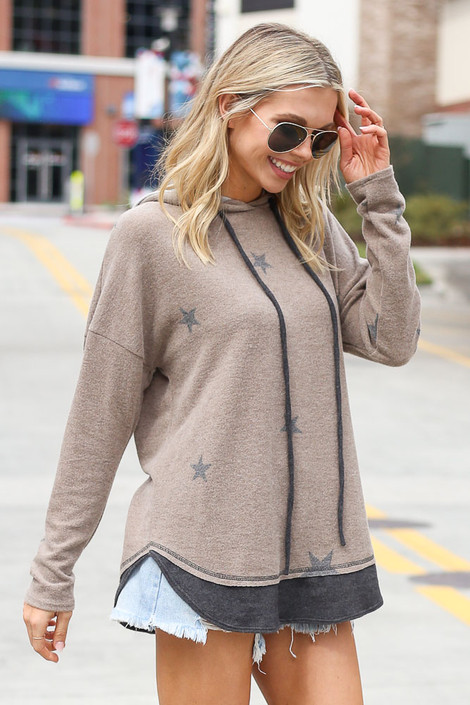 Star Brushed Knit Oversized Hoodie Side View