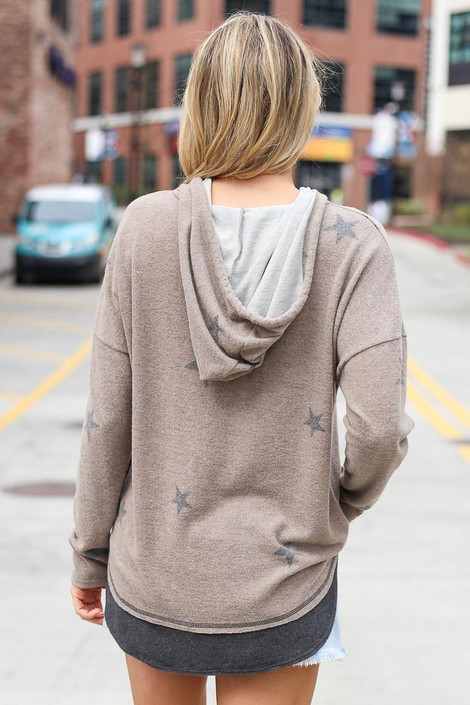 Star Brushed Knit Oversized Hoodie Back View