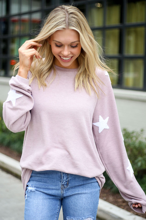 Blush - Dress Up model wearing the Star Sleeve Oversized Pullover
