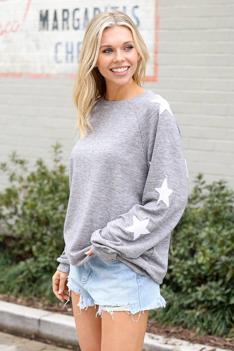 Star Sleeve Oversized Pullover in Heather Grey Side View