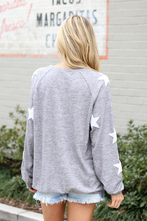 Star Sleeve Oversized Pullover in Heather Grey Back View
