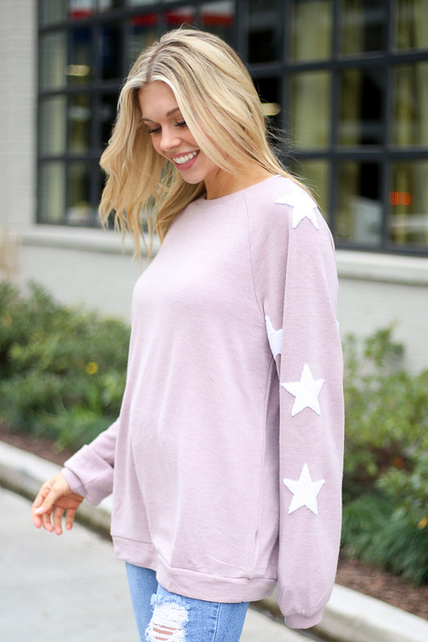 Star Sleeve Oversized Pullover in Blush Side View