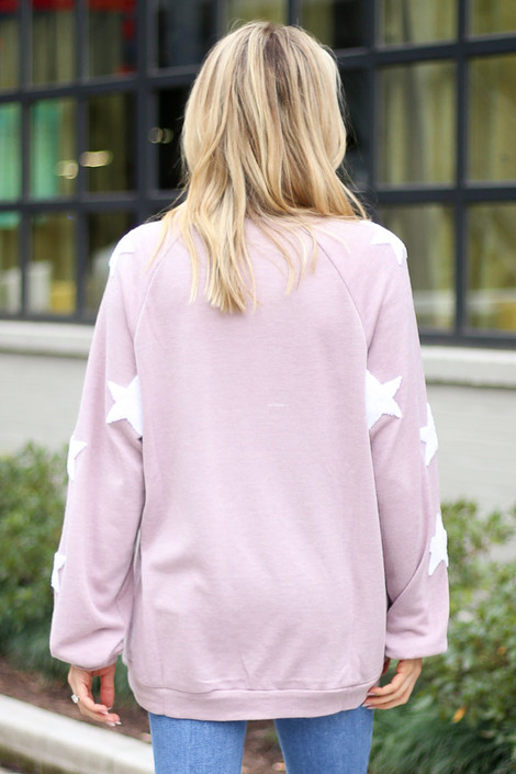 Star Sleeve Oversized Pullover in Blush Back View