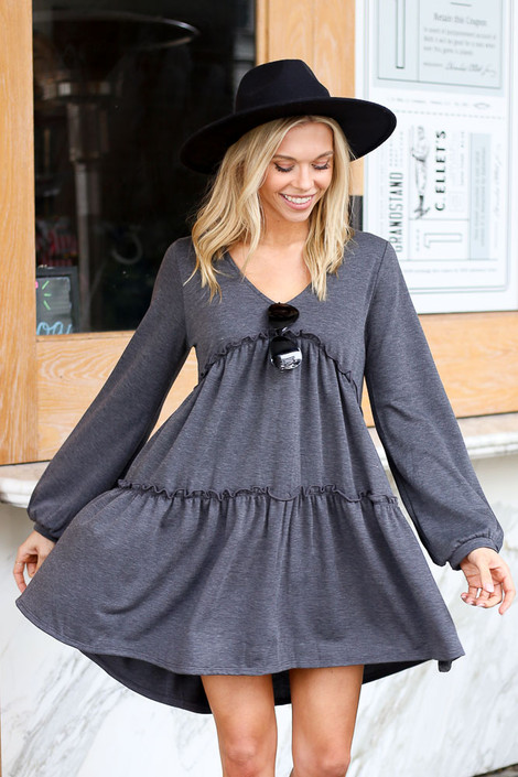 Tiered Balloon Sleeve Babydoll Dress Front View