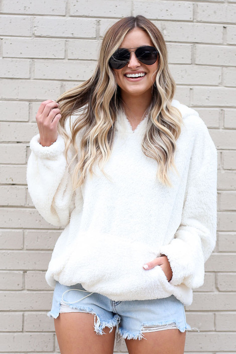 Ivory - Fuzzy Knit Pullover Hoodie Front View